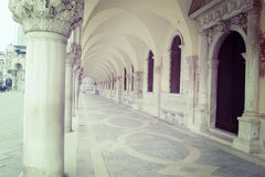 Arcade in San Marco square in Venice in vintage tone. Effect, Italy Stock Images