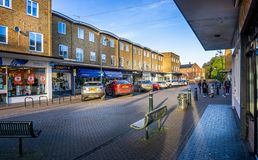 Arcade of shops in the centre of Westbury, Wiltshire, UK stock image
