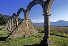 Arches on the shores of Lake of Zirahuen. Arcade on the shores of Zirahuen Lake, State of Michoacan in Mexico stock images