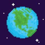 Arcade-Spiel-Planetenerdvektorillustration der Pixelkunst Retro- Stockfotos