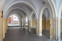 Arcade in town Slavonice, southwest of Moravia Royalty Free Stock Photography