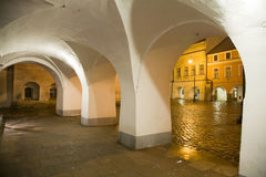 Arcade with town square. In Litomysl at night lighting. UNESCO heritage Royalty Free Stock Images
