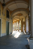 The arcade in Turin, Italy. A view of an arcade in Turin, Italy Stock Photos