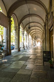 Arcade in Turin, Italy. View of the arcade in downtown in Turin Stock Photos