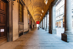 Arcade of Uffizi Gallery in Florence city. FLORENCE, ITALY - NOVEMBER 4, 2016: arcade of Uffizi Gallery. The Uffizi Gallery is one of the oldest museums in Royalty Free Stock Image