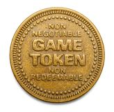 Game Token. Arcade Video Game Token Isolated on White Background Stock Image