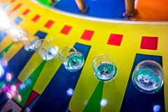 Arcade video games and lights and spinning wheels. Arcade video games and lights and spinning  wheels Royalty Free Stock Photo