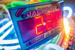 Arcade video games and lights and spinning wheels. Arcade video games and lights and spinning  wheels Stock Photography