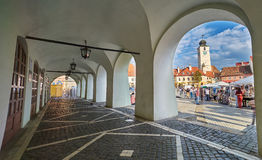 Arcade View of Small Square in Sibiu. Sibiu, RO, Aug 2015: Small Square in City Center Royalty Free Stock Photography