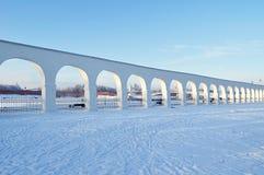 Arcade of Yaroslav courtyard and Novgorod Kremlin in Veliky Novgorod, Russia - winter view in sunny day Stock Image