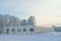 Arcade of the Yaroslav's courtyard in Veliky Novgorod, Russia - winter evening picturesque view Stock Photos