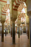 Arcaded hypostyle hall of the Mosque�Cathedral of Cordoba Stock Images