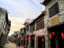 Arcaded streets,Huaiyuan Ancient Town,Guangxi,China. Huaiyuan ancient town is one of the most popular tourist attractions in Yizhou,Guangxi Province,China Stock Photo