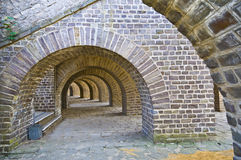 Arcades. Beautiful old brick arcades surrounding the amphitheater in Xanten Stock Photography