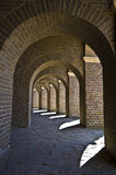 Arcades. Beautiful old brick arcades surrounding the amphitheater in Xanten Stock Images