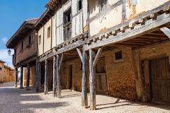 Arcades amd old houses in Calatanazor, Soria, Spain. Arcades and old houses, typical medieval architecture in Calatanazor, Soria, Spain Royalty Free Stock Images