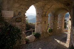 Arcades in the ancient village of Verezzi. In the riviera di Ponente, Italy Stock Images