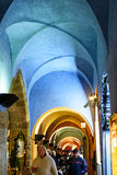 Arcades with Archway at Night in Prague. PRAGUE, CZECH REPUBLIC - Arcades with Archway at Night Royalty Free Stock Image