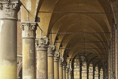 Arcades of Bologna. Typical, Decorative Arcades on the Streets in Bologna. Italy, Europe Royalty Free Stock Photo