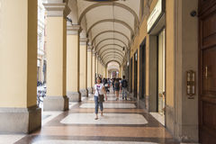 Arcades Bologna. Ancient arcades with shops and restaurants, Bologna, Italy Royalty Free Stock Photography