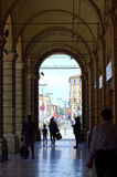 Arcades of Bologna Italy. Endless city arcades typical for Bologna Italy Stock Photo