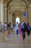 Arcades of Bologna Italy. Endless city arcades typical for Bologna Italy Royalty Free Stock Images