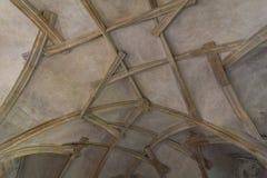 Arcades ceiling in Prague castle. Irregular medieval arcades ceiling in Prague castle Stock Image