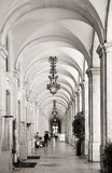 Arcades at commerce square in Lisbon, Portugal Royalty Free Stock Photography