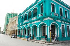 Arcades d'un bâtiment néoclassique en Santa Clara Cuba photographie stock libre de droits