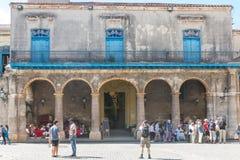 Arcades du palais du Conde Lombillo dans la cathédrale carrée Image stock