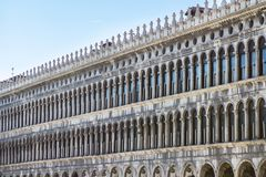 Arcades of the facade on Piazza San Marco in Venice, Italy. Arcades of the facade on Piazza San Marco Saint Mark square in Venice, Italy Royalty Free Stock Images