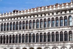 Arcades of the facade on Piazza San Marco in Venice, Italy. Arcades of the facade on Piazza San Marco Saint Mark square in Venice, Italy Stock Image