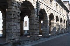 Arcades fishmongers mantua lombardy Italy europe Stock Photo