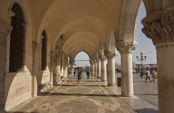 Arcades of historic buildings. Arcades of Piazza San Marco in Venice Royalty Free Stock Images