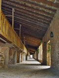 Arcades in the monastery of Lluc, Mallorca, Spain Stock Photography