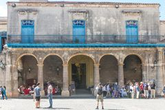 Arcades of the Palace of the Conde Lombillo. in the Cathedral Sq. HAVANA, CUBA - JANUARY 16, 2017: Arcades of the Palace of the Conde Lombillo. in the Cathedral Stock Image