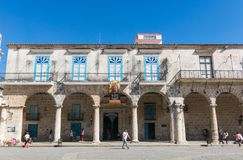 Arcades of the Palace of the Conde Lombillo. in the Cathedral Sq. HAVANA, CUBA - JANUARY 16, 2017: Arcades of the Palace of the Conde Lombillo. in the Cathedral Royalty Free Stock Photo