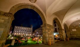 Bergamo old square at night royalty free stock photo