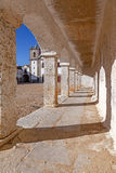 The arcades of the pilgrim lodgings in the Baroque Sanctuary of Nossa Senhora do Cabo Stock Images