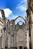 Arcades, pillars and facade of Do Carmo convent in Lisbon. Portugal Stock Photos