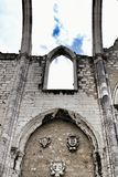 Arcades, pillars and facade of Do Carmo convent in Lisbon. Portugal Stock Photo