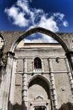 Arcades, pillars and facade of Do Carmo convent in Lisbon. Portugal Royalty Free Stock Photos