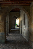 Arcades. Porches with arches on a square of Santillana del Mar (Cantabria Stock Images