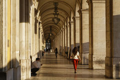 Arcades of Praca do Comercio Commerce Square Royalty Free Stock Photography