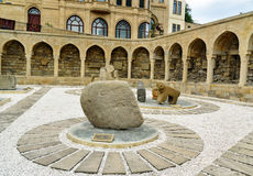 Arcades and religious burial place in Old city, Icheri Sheher. Baku. Baku, Azerbaijan - September 10, 2016: Arcades and religious burial place in Old city Royalty Free Stock Images