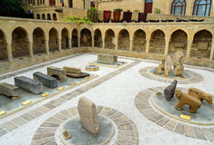 Arcades and religious burial place in Old city, Icheri Sheher. Baku. Baku, Azerbaijan - September 10, 2016: Arcades and religious burial place in Old city Royalty Free Stock Photography