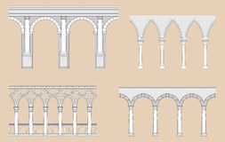 Arcades (Roman, Gothic, Venetian, Renaissance). Seamless arcades in different historical styles Royalty Free Stock Image