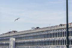 Arcades on San Marco Piazza. Arcades of Facade on Saint Mark Square in Venice, Italy Stock Image