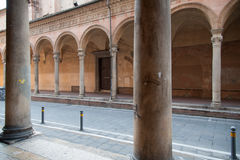 The arcades of Santa Cecilia oratory in Bologna, Italy. The arcades of Santa Cecilia oratory in the medieval town of Bologna, Italy Stock Photo