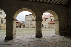 Arcades. Santillana. Popular architecture (Casonas montanesas) in the town of Santillana del Mar, Cantabria, Spain Royalty Free Stock Images